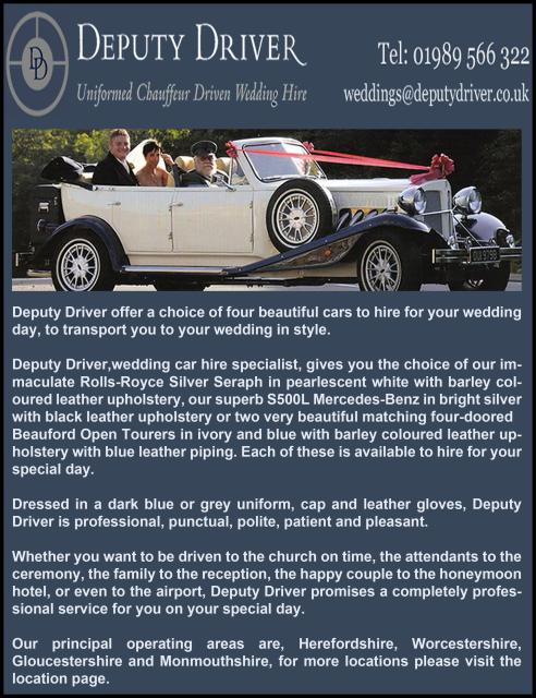 Deputy Driver Wedding Cars In Brampton Abbotts Uk Business Directory